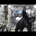 Gorilla in Space Chasing Astronaut