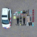 The contents of a police car
